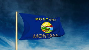 Montana flag slider style with title. Waving in stock video footage