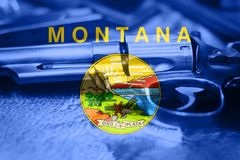 Montana flag U.S. state Gun Control USA. United States Gun Law. S Stock Photos