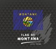 Montana flag, vector sketch hand drawn illustration on dark grunge background. Vector sketch map of Montana with flag, hand drawn chalk illustration. Grunge Royalty Free Stock Image