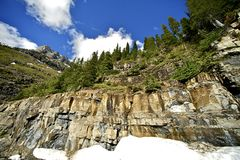 Montana Geology. Scenic Montana Rocky Mountains Landscape with Snow. Montana State, USA royalty free stock photo