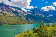 Montana Glacier Mountains. Glacier National Park Scenic Summer Landscape with Lake. Montana, United States Royalty Free Stock Photography