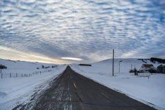 Montana Highway. Sunset near Monarch Montana stock photography