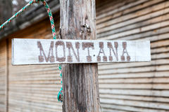 Montana inscription on wooden plate Stock Image