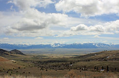 Montana Landscape. Lanscape view of fields and a mountain range in montana royalty free stock photography