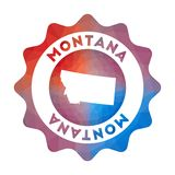 Montana low poly logo. Colorful gradient travel logo of the us state in geometric style. Multicolored polygonal Montana rounded sign with map for your vector illustration