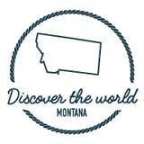 Montana Map Outline Le vintage découvrent le monde Image stock