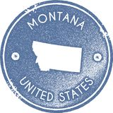 Montana map vintage stamp. Retro style handmade label, badge or element for travel souvenirs. Light blue rubber stamp with us state map silhouette. Vector stock illustration