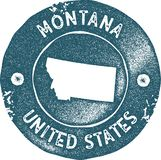 Montana map vintage stamp. Retro style handmade label, badge or element for travel souvenirs. Blue rubber stamp with us state map silhouette. Vector royalty free illustration
