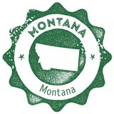 Montana map vintage stamp. Retro style handmade label, badge or element for travel souvenirs. Dark green rubber stamp with us state map silhouette. Vector royalty free illustration