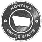 Montana map vintage stamp. Retro style handmade label, badge or element for travel souvenirs. Dark grey rubber stamp with us state map silhouette. Vector vector illustration