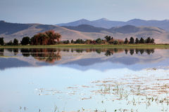 Montana Moments. Mountain and Lake in the Mission Valley in Moiese, Montana Royalty Free Stock Image