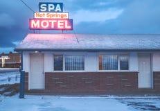 Montana Motel in de winter royalty-vrije stock afbeelding