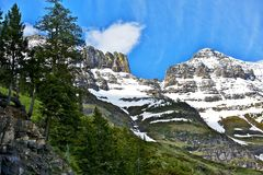 Montana Mountains. Northern Montana Mountains - Glacier National Park, Montana, USA. Beautiful Snowy Mountains Range in Summer. Nature Photo Collection Stock Photo