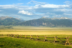 Montana Ranch. Sunny ranch in the mountains of Montana state stock images