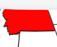 Montana Red Abstract 3D State Map United States America. A red abstract state map of Montana, a 3D render symbolizing targeting the state to find its outlines Stock Photo