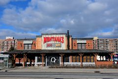 Montana`s BBQ & Grill in Ottawa. Ottawa, Canada - April 9, 2018:  Canadian restaurant chain Montana's BBQ & Grill on Merivale Rd.  It was originally branded as Royalty Free Stock Image