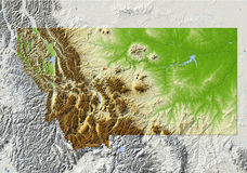 Montana, shaded relief map Stock Photos