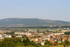 Montana-Stadt, Absolvent in Bulgarien-Vogelperspektive lizenzfreie stockfotos