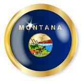 Montana Flag Button. Montana state flag button with a gold metal circular border over a white background Royalty Free Stock Photography