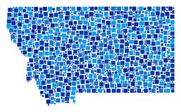 Montana State Map Collage of Squares. Montana State map mosaic of random dots in various sizes and blue color hues. Vector square elements are arranged into Stock Photography