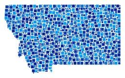 Montana State Map Collage van Vierkanten Stock Fotografie