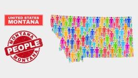 Montana State Map Population Demographics e filigrana impuro ilustração royalty free