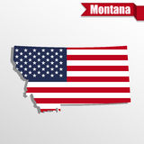 Montana State map with US flag inside and ribbon Royalty Free Stock Images