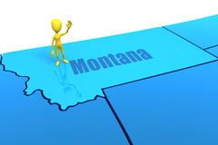 Montana state outline with yellow stick figure Royalty Free Stock Photography