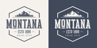 Montana State Textured Vintage Vector T-shirt And Apparel Design Stock Images