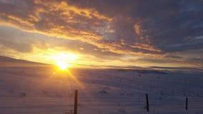 Montana sunrise. Sunrise over snowy montana field Stock Images