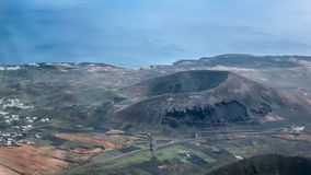 Montana Tinamala. Volcano caldera crater on Lanzarote, Canary Islands. Aerial photo stock photos