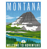 Montana, United States travel poster. Vector illustration of snowy mountain, river and forest Royalty Free Stock Images