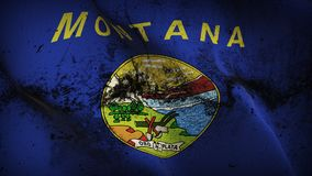 Montana US State grunge dirty flag waving on wind. United States of America Montana background fullscreen grease flag blowing on wind. Realistic filth fabric Stock Images