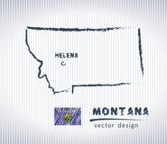 Montana vector chalk drawing map isolated on a white background. Vector sketch map of Montana with flag, hand drawn chalk illustration. Grunge design Stock Photos