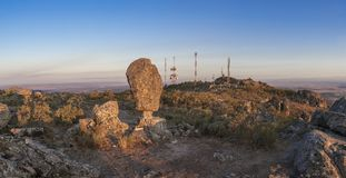 Montanchez shifting stone Panoramic, Extremadura, Spain. Montanchez shifting stone or El Cancho que se menea in spanish. Famous megalithic monument. Panoramic Royalty Free Stock Photography