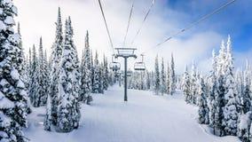 Montando a telecadeira em uma paisagem do inverno com as árvores cobertos de neve em Ski Hills Fotos de Stock Royalty Free