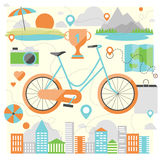 Montando uma ilustração lisa da bicicleta ilustração stock