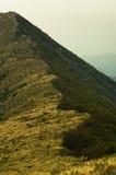 Montanhês com o trajeto trekking ao pico de Trem na montanha de Suva Planina Imagem de Stock