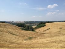 Montanhês e campos de Toscânia, Itália Foto de Stock