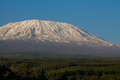 A montanha, África, Tanzânia e Kenya de Kilimanjaro limitam o parque nacional de Amboseli imagem de stock