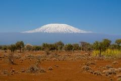 A montanha, África, Tanzânia e Kenya de Kilimanjaro limitam o parque nacional de Amboseli foto de stock royalty free