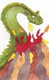 A montanha é inflamada do dragão Fotografia de Stock Royalty Free