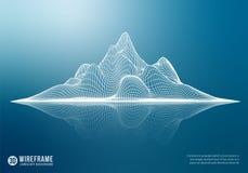 Montanha abstrata do wireframe com reflexão ilustração royalty free