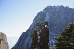 Montanha amarela no inverno Fotografia de Stock