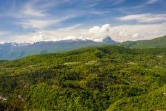 Montanha atrás da floresta Fotos de Stock Royalty Free