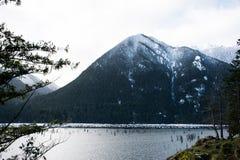 Montanha através das árvores Imagens de Stock Royalty Free