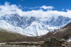 Montanha da neve com geleira foto de stock royalty free
