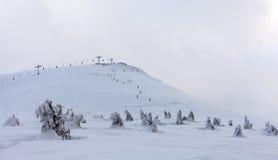 Montanha da neve Montanhas sob a neve no inverno Fotos de Stock