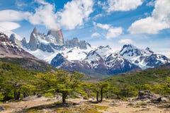 A montanha de Fitz Roy, montanhas ajardina, patagonia Imagens de Stock