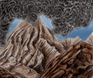 Montanha de fumo do vulcão Fotografia de Stock Royalty Free